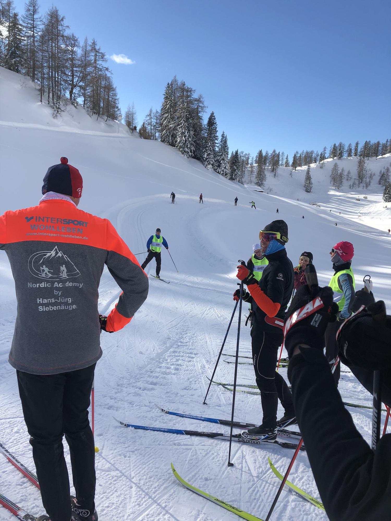 Langlauf Technik Trainingslager Ski Gruppe