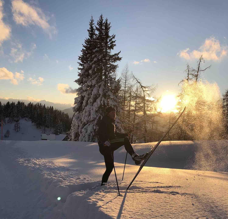 Langlaufschule Thüringen Sonnenuntergang im Schnee